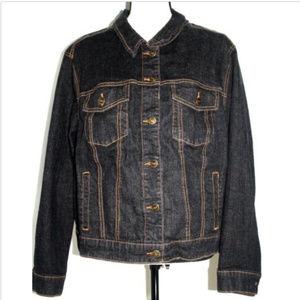 Woman Within Womens Size 22W Black Denim Jacket
